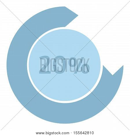 Loading circle 20 percent icon. Flat illustration of web preloader vector icon for web design