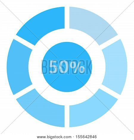 Circle loading, 50 percent icon. Flat illustration of web preloader vector icon for web design