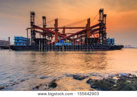 The merchant ship dockyard and port in gulf sea Chonburi Province Thailand