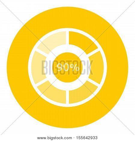 Web preloader 90 percent icon. Flat illustration of web preloader vector icon for web design