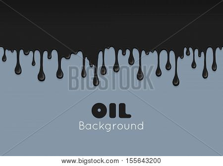 Flow ink drops. Splash oil flowing and drip. Splatter and droplet of black liquid. Abstract stain and blob of paint - vector design element. Illustration isolated on white background.