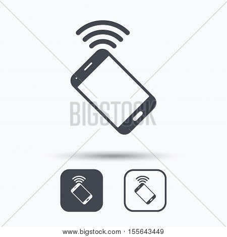 Cellphone icon. Mobile phone communication symbol. Square buttons with flat web icon on white background. Vector