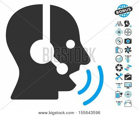 Operator Speech Sound Waves pictograph with bonus quadrocopter tools symbols. Vector illustration style is flat iconic blue and gray symbols on white background.