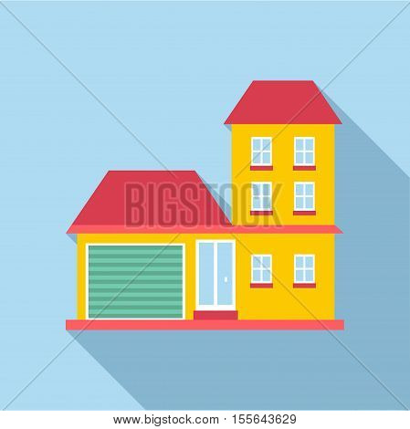 Suburb house icon. Flat illustration of house vector icon for web design