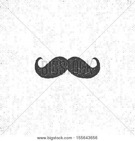 Retro hannd drawn mustache icon. Symbol of mustache in rustic style. Vector mustache isolated. Use on infographics, tee designs, logos, badges etc