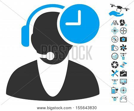 Operator Time icon with bonus airdrone service pictograph collection. Vector illustration style is flat iconic blue and gray symbols on white background.