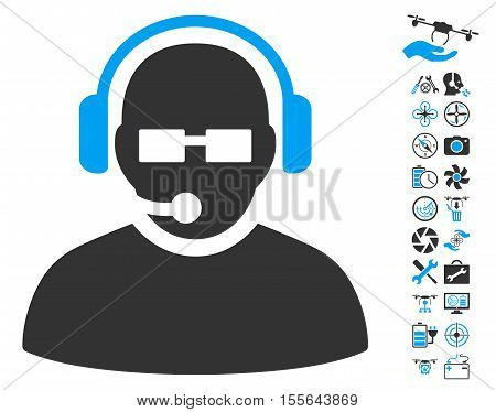 Operator pictograph with bonus airdrone tools pictograph collection. Vector illustration style is flat iconic blue and gray symbols on white background.
