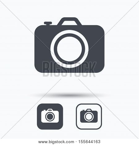 Camera icon. Professional photocamera symbol. Square buttons with flat web icon on white background. Vector