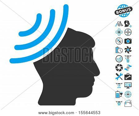 Radio Reception Mind icon with bonus nanocopter service images. Vector illustration style is flat iconic blue and gray symbols on white background.