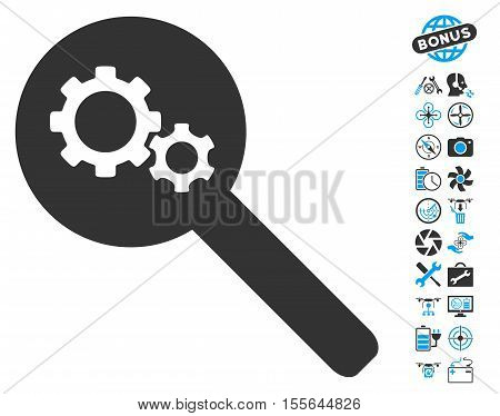 Search Gears Tool icon with bonus uav service icon set. Vector illustration style is flat iconic blue and gray symbols on white background.