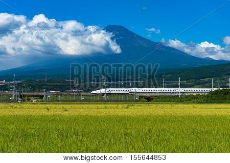 Shizuoka prefecture Japan - September 3 2016: Bullet train Tokaido Shinkansen travels along bright ripe rice field paddy with iconic Mount Fuji volcano on the background. Iconic Japan sightseeings