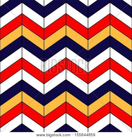 Abstract colorful geometric chevron seamless pattern in blue red yellow and white, vector background