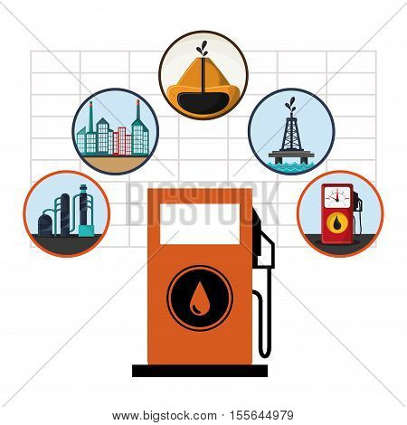 Gasoline pump earth and buildings icon. Oil price industry fuel production and gasoline theme. Isolated design. Vector illustration