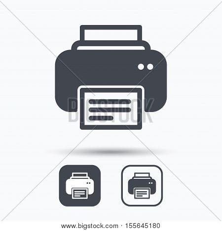 Printer icon. Print documents technology symbol. Square buttons with flat web icon on white background. Vector