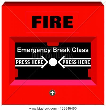Fire Alarm Emergency Break Glass Press Here warning tool device red box button for building safety to save people life this panel to avoid hazard fixed on walls all over the facility and offices