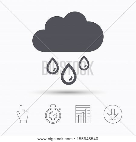 Cloud with rain drops icon. Rainy day symbol. Stopwatch timer. Hand click, report chart and download arrow. Linear icons. Vector