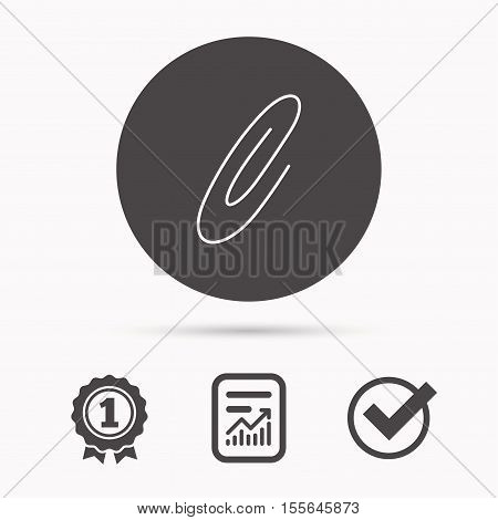 Safety pin icon. Paperclip sign. Report document, winner award and tick. Round circle button with icon. Vector