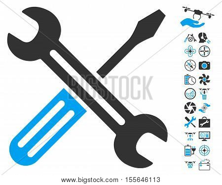 Spanner and Screwdriver icon with bonus uav service graphic icons. Vector illustration style is flat iconic blue and gray symbols on white background.
