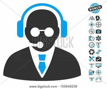 Support Manager icon with bonus uav service clip art. Vector illustration style is flat iconic blue and gray symbols on white background.
