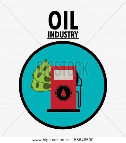Gasoline pump and bills icon. Oil price industry fuel production and gasoline theme. Isolated design. Vector illustration