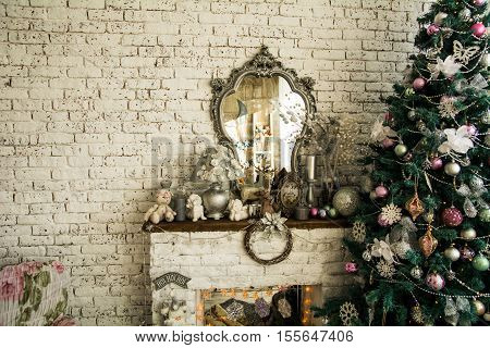 Background Brick Wall With A Mirror Christmas Spruce