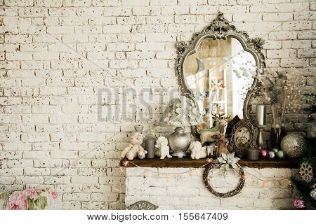 Background Brick Wall With A Mirror