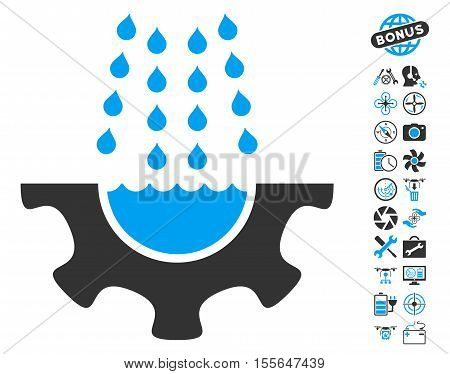 Water Shower Service Gear pictograph with bonus flying drone tools symbols. Vector illustration style is flat iconic blue and gray symbols on white background.
