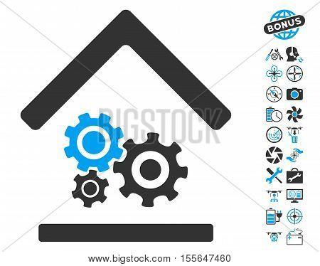 Workshop icon with bonus uav service clip art. Vector illustration style is flat iconic blue and gray symbols on white background.