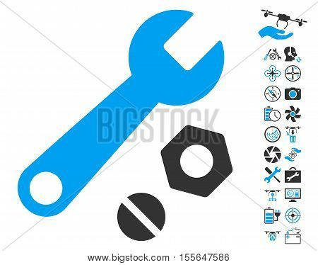 Wrench and Nuts pictograph with bonus quad copter service pictograms. Vector illustration style is flat iconic blue and gray symbols on white background.