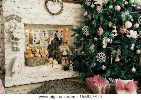 Christmas Background With Tree And Fireplace