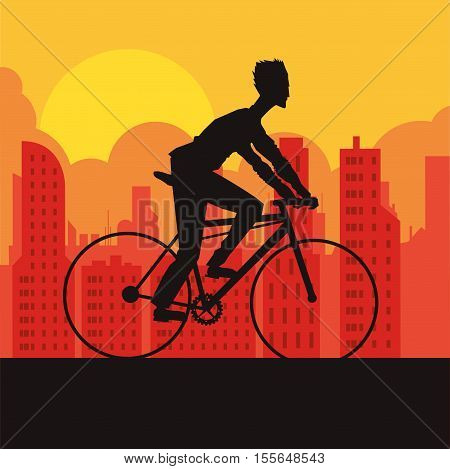 Man riding bike icon. Healthy lifestyle racing ride and sport theme. City silhouette background. Vector illustration