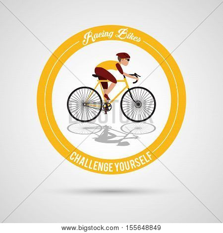 Man riding bike inside circle icon. Healthy lifestyle racing ride and sport theme. Vector illustration