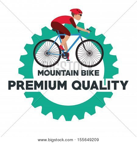 Man riding bike inside gear icon. Healthy lifestyle racing ride and sport theme. Vector illustration