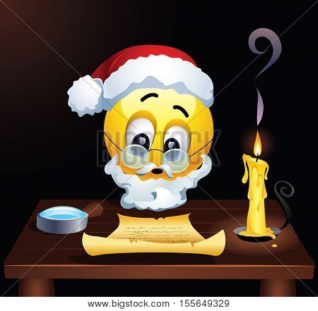 Smiley as Santa Clause reading letters from children. Santa Clause fulfills childrenâ??s wishes. Vector illustration.