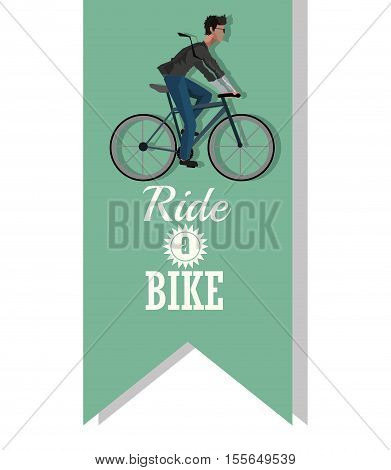 Man riding bike inside ribbon icon. Healthy lifestyle racing ride and sport theme. Vector illustration