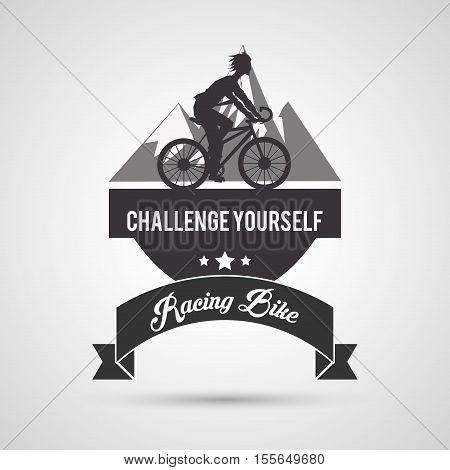 Man riding bike mountain and ribbon icon. Healthy lifestyle racing ride and sport theme. Vector illustration