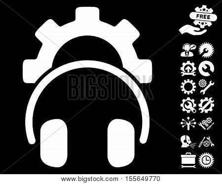 Headphones Configuration Gear pictograph with bonus configuration pictograms. Vector illustration style is flat iconic white symbols on black background.