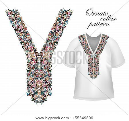 Shirt, jacket and T-shirt collar pattern. Embriodery ornament. V neck. Vector. Colorful