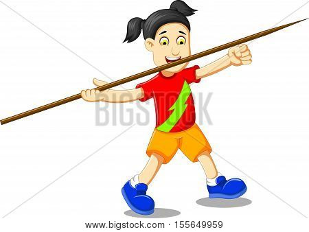 funny girl cartoon playing javelin for you design