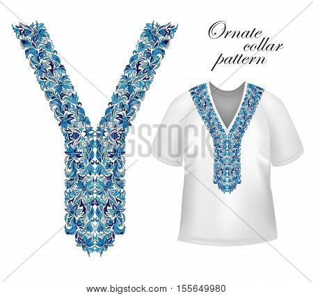 Shirt, jacket and T-shirt collar pattern. Embriodery ornament. Vector. Blue