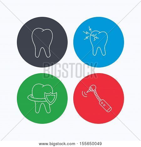 Tooth, toothache and drilling tool icons. Teeth protection linear sign. Linear icons on colored buttons. Flat web symbols. Vector