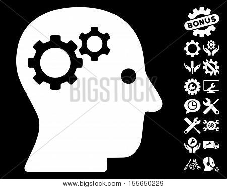 Intellect Gears pictograph with bonus tools pictures. Vector illustration style is flat iconic white symbols on black background.