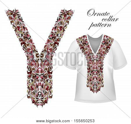 Shirt, jacket and T-shirt collar pattern. Embriodery ornament. Vector. Bright vinous brown