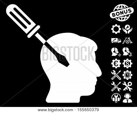 Intellect Screwdriver Tuning icon with bonus setup tools pictograms. Vector illustration style is flat iconic white symbols on black background.