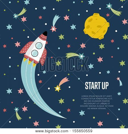 Start up cartoon banner. Spaceship with flame trace from engines, fiery comets, falling stars, moon on blue background vector illustration. For planetarium, astronomical club, childrens cafe web page