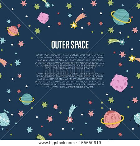 Outer space cartoon web template. Aliens spaceship, color stars, shining comets, moon, Saturn planet vector on blue background. For planetarium, astronomical club, childrens cafe landing page design