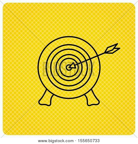 Target with arrow icon. Archery aiming sign. Professional shooter sport symbol. Linear icon on orange background. Vector