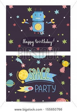 Happy birthday cartoon greeting card on space theme. Angry robot with claws, alien girl, colorful stars, comets, planets, fiery meteors vector illustrations. Invitation on childrens costumed party