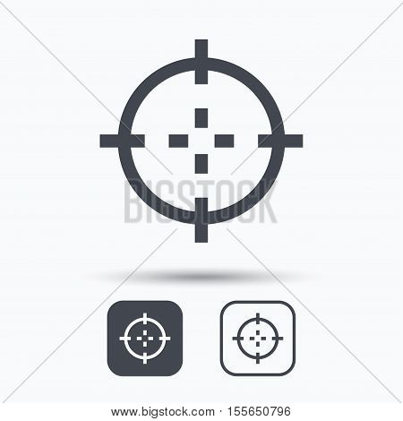 Target icon. Crosshair aim symbol. Square buttons with flat web icon on white background. Vector