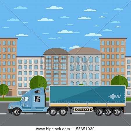 Commercial freight truck on road in city vector illustration. Urban cityscape background with skyscrapers. Modern lorry truck side view. Vehicle for cargo transportation. Trucking and delivery service